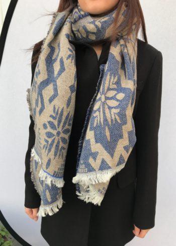 sjaal Blauw:beige.