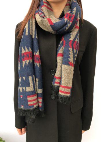 sjaal blauw:rood.