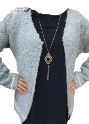 Frarosa cardigan met alpacawol jeanskleur