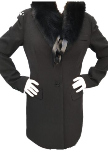 H20 Mantel met losse bontkraag zwart Chiara zwart