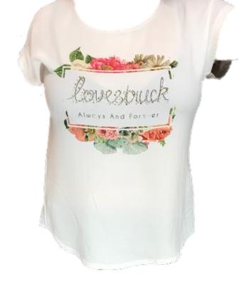Batida T-Shirt 7169 Ecru: Lovestruck always and forever