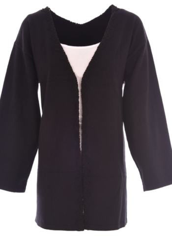 K-Design Cardigan M528 Black met kant