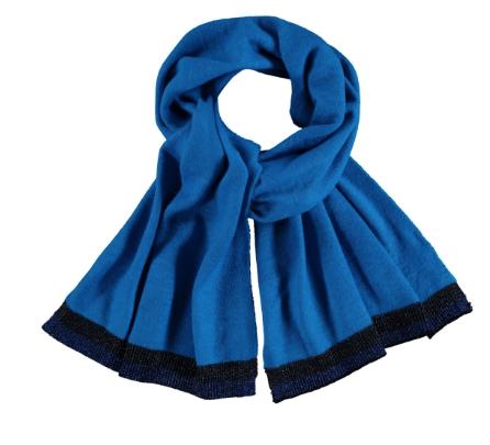 CKS Sjaal Marlis Royal blauw ( Boord glitterzwart en glitter navy )