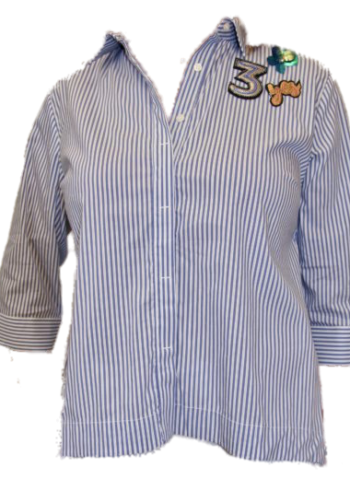 CKS Bloes Mariska , blue stripe met broche