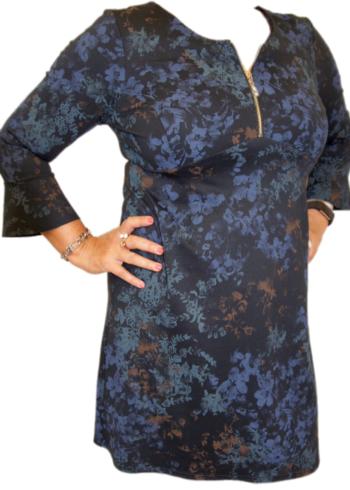 Zaps jurk Lansa 023 Blauw met print