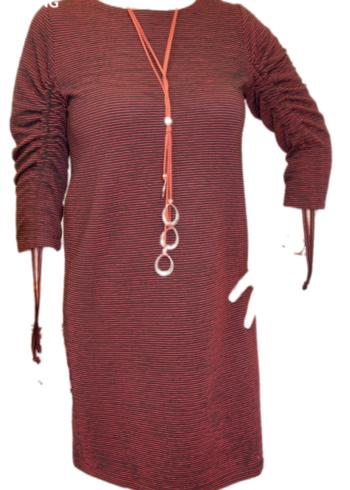 CKS jurk Doris , Arcane Black met rode strepen