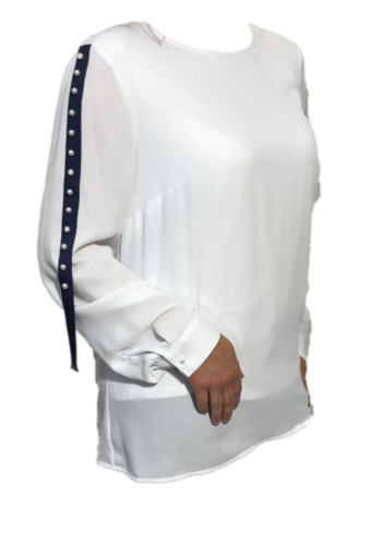 Ezuri Witte bloes met blauwe band op de mouw 5187