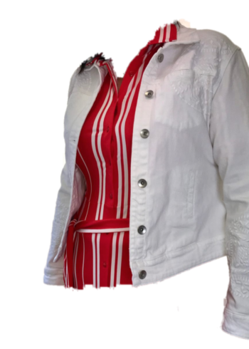 Malvin Wit geborduurd jeans vest