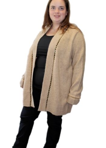 Open End Cardigan 28961 Beige