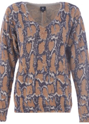 K-Design Pullover R508 camel , V hals