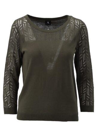 K-Design Pullover S511 Burnt Olive 2/3 mouwen